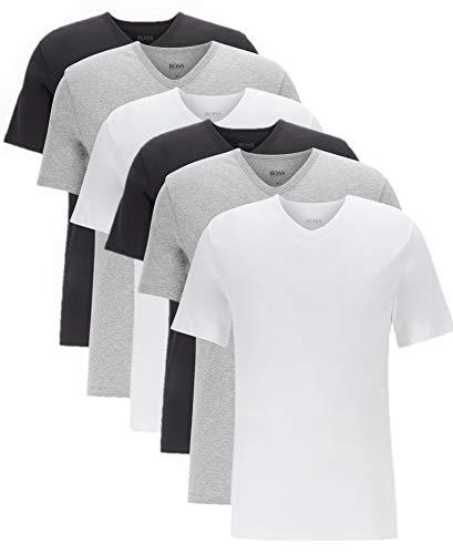 BOSS Hugo Herren T-Shirts Business Shirts V-Neck 50325389 6er Pack, Farbe:Mehrfarbig, Größe:M, Artikel:-999 Mix