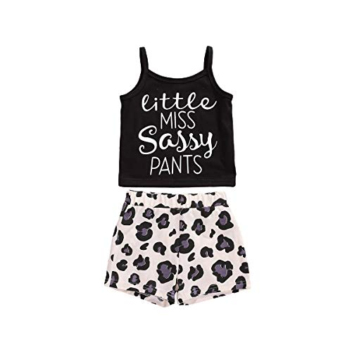 LXXIASHI 2Pcs Toddler Infant Baby Halter Tank Top + Shorts Summer Outfits Little Miss Sassy Pants (3-4 Years, Black - Leopard)