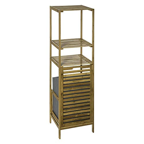 Estantería de almacenaje de BAMBÚ con 3 estantes + 1 Cesto para la ropa para guardar cada cosa en su sitio – Multiusos – Exótico y Zen