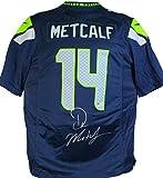 DK Metcalf Autographed Navy Nike Game Jersey-Beckett W Hologram Silver