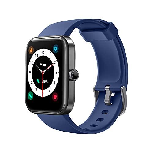 AKWLOVY Smartwatch Hombres Mujer, Reloj Inteligente con Alexa Podómetro, 1.69' Monitor de Oxígeno de Sangre, Pulsómetro, Monitor de Sueño, IP68 Impermeable Pulsera Actividad para Android iOS (Blue)