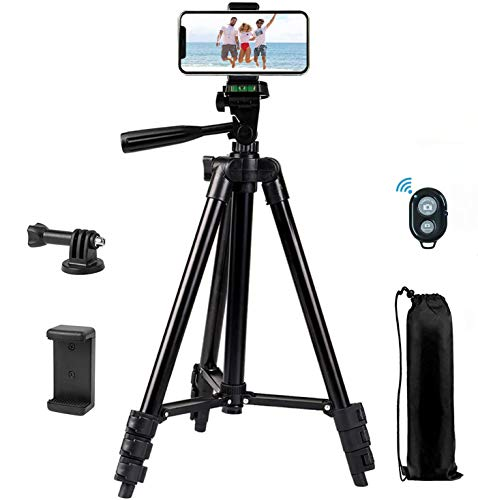 Mobile Phone Tripod, 42-inch Tripod for iPhone, Mobile Phone Tripod with Mobile Phone Holder and Remote Shutter, Compatible with iPhone/Android, Very Suitable for Selfie/Video Recording/Video/Live