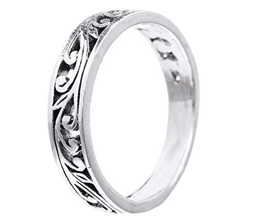 WINDALF Fairy Ring LUCIA h: 0.4 cm Feenhafte Ornamentik Midi-Ring 925 Sterlingsilber (Silber, 58 (18.5))