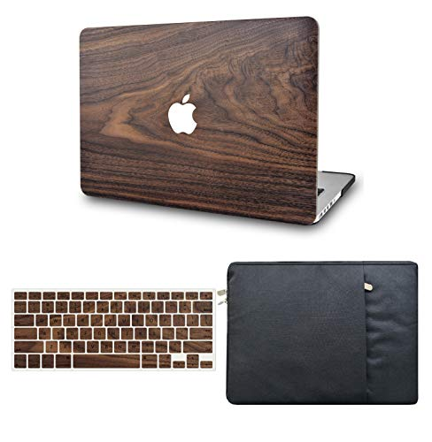 KECC Laptop Case Compatible with MacBook Air 13' Retina (2021/2020, Touch ID) w/Keyboard Cover + Sleeve Plastic Hard Shell Case A2337 M1 A2179 3 in 1 Bundle (Walnut Wood)