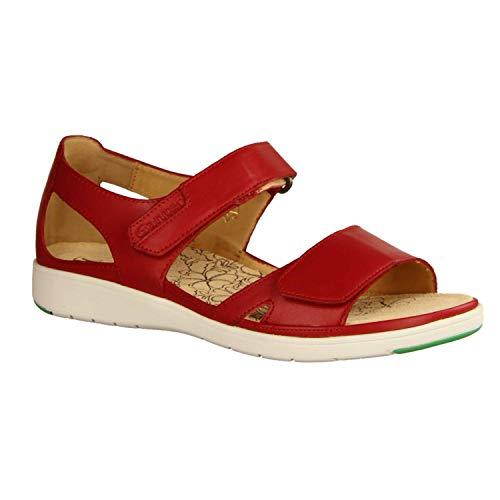 Ganter Damen Sandaletten Gina 200141-400, Rot - Sandale mit Loser Einlage - Damenschuhe Sandale bequem/lose Einlage, Rot, Leder (Calf), absatzhöhe: flach rot 535766