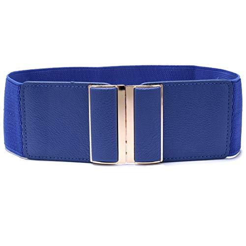 Beltox Womens 3' Wide Belt Elastic Stretch Cinch Waistband Lady Cummerband (26-43', Blue Belt)