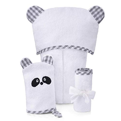 Hooded Towels for Baby with Washcloth & Bath Gloves Bear Ears, Ultra Soft, Hypoallergenic, Absorbent Pack for Toddler, Babies, Infant, Unisex, Newborn, Boy and Girl, One Size by Brooklyn Bamboo
