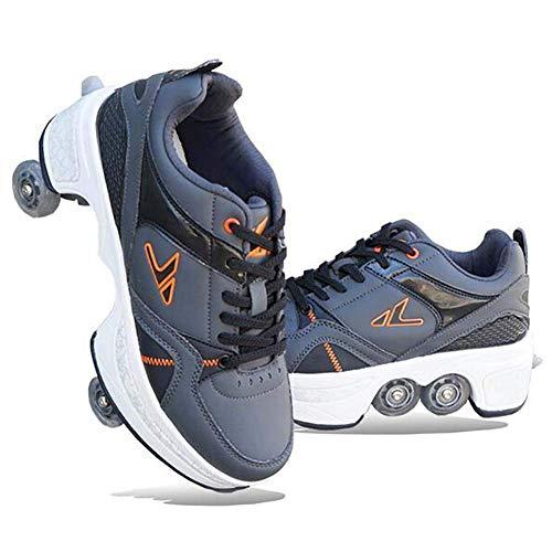 YXRPK Laufschuhe Sneakers Multifunktionale 2 in 1 Quad Rollschuhe Skating Turnschuhe Rädern Deformation Schuhe Rädern Sportschuhe,39