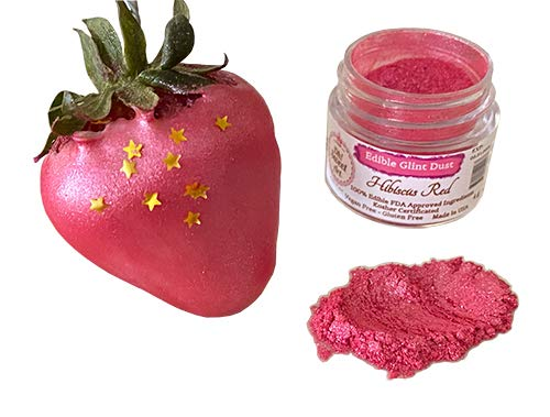 Edible Glint Sales for sale Dust Hibiscus Red 4 Max 82% OFF jar Luster gram