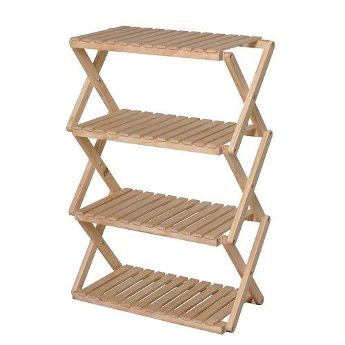 コーナン オリジナル コーナンラック 折り畳み式木製ラック4段 ワイドタイプ(約幅60X奥行30X高87cm)