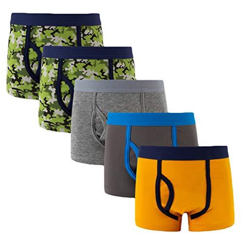 YOUNGSOUL Jungen Boxershorts Camouflage 5er Pack Kleinkind Sport Unterwäsche Kinder Baumwolle Unterhosen Modell 4, 6-7 Jahre/122-128