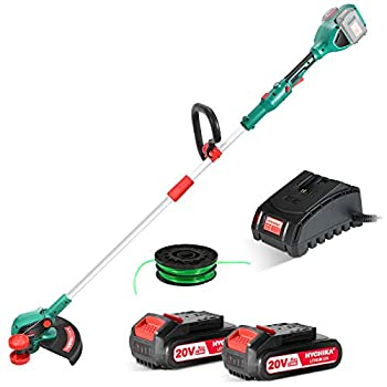 HYCHIKA BETTER TOOLS FOR BETTER LIFE Cordless String Trimmer/Edger 40V Max 14-inch Cutting Width 2 x 2.0Ah Lithium-Ion Battery 2.0 Ah Fast Charger Trimmer Line Included