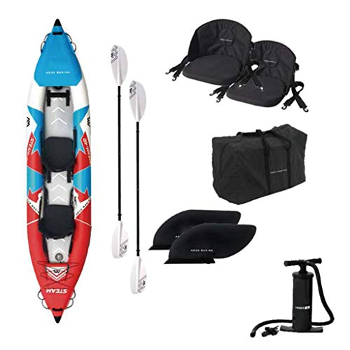 Gaoyanhang Rafting Outdoor - Single/Canoa Doppia PVC Kayak gommone Materiale Spazzolato con Pompa ad Aria (Color : Blue Red White, Size : Double)