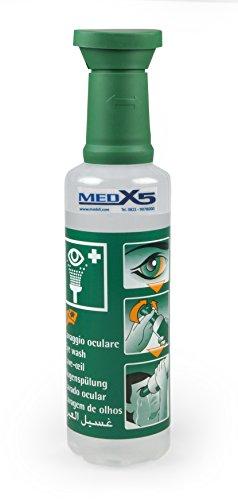 MedX5 (Upgrade 2020) 500 ml ducha ocular de emergencia 0,9% NaCl, producto para el lavado de ojos con suero fisiológico (0,9%), producto de lavado ocular, solución para el lavado ocular