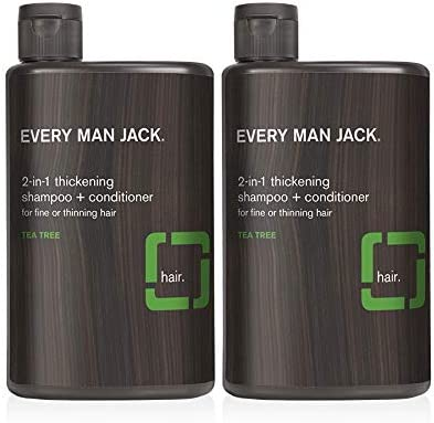 Every Man Jack 2 in 1 Daily Shampoo Conditioner Thickening Tea Tree 13 ounce Twin Pack 2 Bottles product image