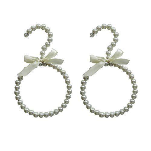 Roos 2 Pcs Round Plastic Pearl Beaded Clothes Hangers Ribbon Bowknot Towel Rack Scarf Hanger Wardrobe Tie Hanger White