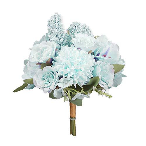 WanBeauty 1Bouquest Fiore Artificiale Fai-da-Te per La Casa da Sposa Festa di Nozze Decor Decorazioni per La Casa Ufficio Tavolo Arrangiamenti Azzurro