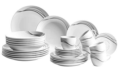 Mäser, Serie Tajo, Kombiservice 30-teilig, Porzellan Geschirr-Set für 6 Personen
