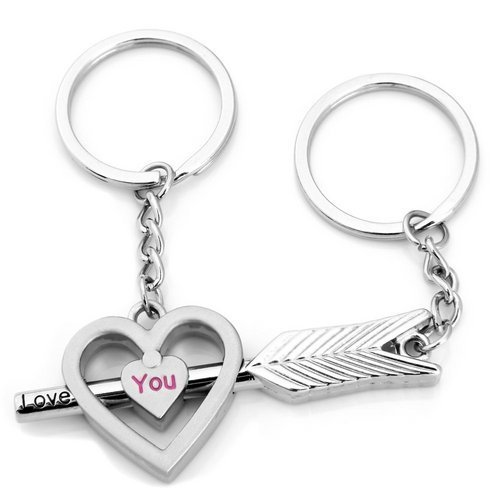 Click Down Arrow to Heart Cute Couple Keychain Love Keychain Key Ring