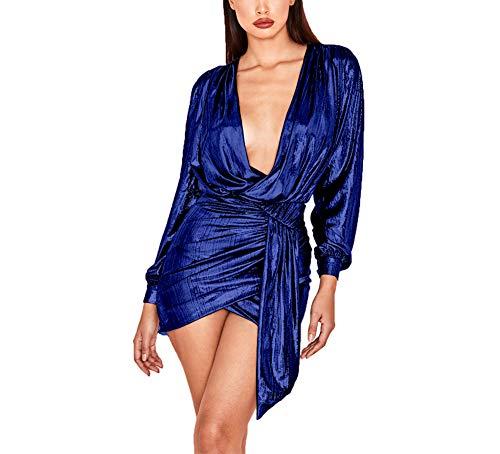 Ophestin Womens Sexy Deep V Neck Metallic Glitter Ruched Long Sleeve Party Dress Dark Blue Size XXL