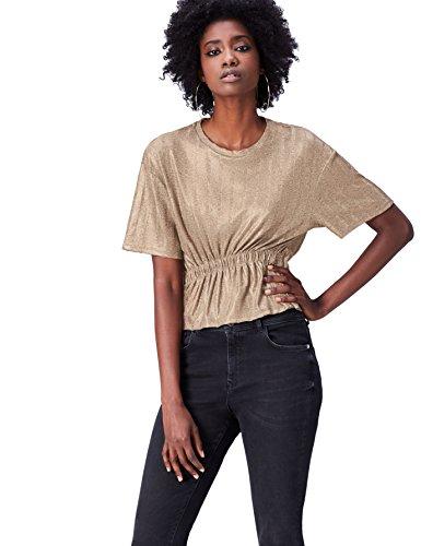 Marca Amazon - find. Camiseta Corta con Cuello Redondo Mujer, Dorado (Gold), 40, Label: M