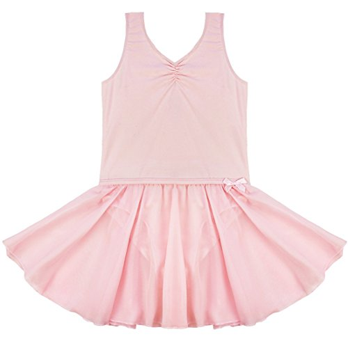 Inlzdz - Maillot de gimnasia sin mangas para niños y niñas, Unisex niños, color rosa, tamaño 7-8 años