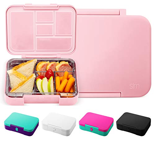 Simple Modern Porter Bento Lunch Box for Kids - Leakproof Divided Pink Container with 5 compartments for Toddlers, Adults, Men, and Women -Blush