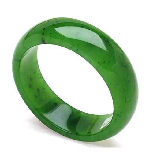 AKT Jade Armreif Armband für Frauen Damen Natural Jade Emerald Jewelry, Chinesischer Hetian Jadeit,60-62mm