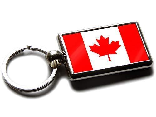 Flag of Kanada National Farben Hochwertig Chrom Schlüsselring Bild Beide Seiten