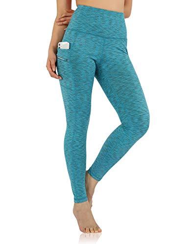 ODODOS Women's High Waisted Full-Length Dual Pockets Workout Leggings, Yoga Running Gym Athletic Leggings, Spacedye Blue, Medium