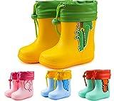 Gummistiefel Kinder Regenstiefel Jungen Mädchen Weicher Wasserdicht Dinosaurier Regenschuhe Stiefel,01 Gelb,EU23/24(160 on The Shoes