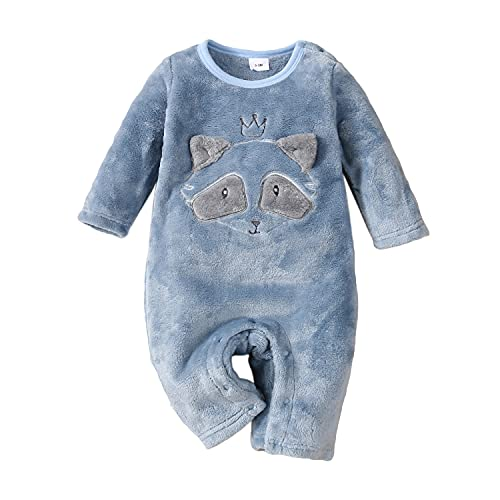 Newborn Infant Baby Boy Girl Long Sleeve Romper Solid Color One Piece Animal Jumpsuit Autumn Outfits, Blue, 9-12 Months