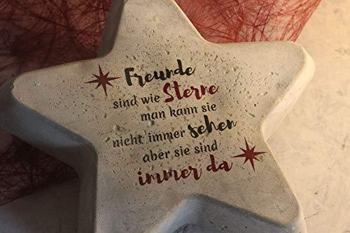 Beton Stern mit Spruch | Freundschaft | Geschenk | Mitbringsel