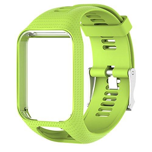 CharmingElf Banda Compatible con Tomtom Spark 3/Runner 2 3/Golfer 2/Adventurer, Correa de Reloj de Silicona, Repuesto para Hombre y Mujer, 6.11'' (15.5 cm) to 8.66''(22 cm), A07 Lima