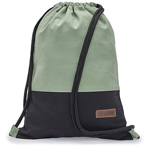 Leon By Bers Turnbeutel mit Innentaschen einfarbiges Design Rucksack Beutel Tasche Damen Herren & Teenager Gym Bag Hipster (Mint_schwStoff)