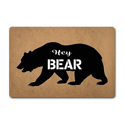 ZQH Decorative Balcony Door Mats Hey Bear Washable Custom Floor Mat(23.6 X 15.7 in) Non-Woven Fabric Top with a Neoprene Rubber Back.