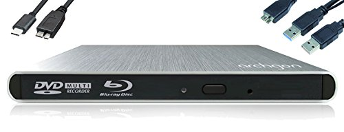Archgon Style Externer HD BD Player, Blu-ray BDXL Brenner extern für PC Laptop USB 3.0 / -C, M-Disc, externes BluRay Laufwerk, External Optical BlueRay Drive extern, Alu Silber