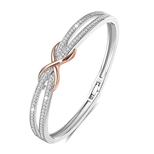 Angelady Classic Silver Plated Infinity Bangles Bracelets for Womens Ladies Bracelets Jewellery Birthday Anniversary Gifts