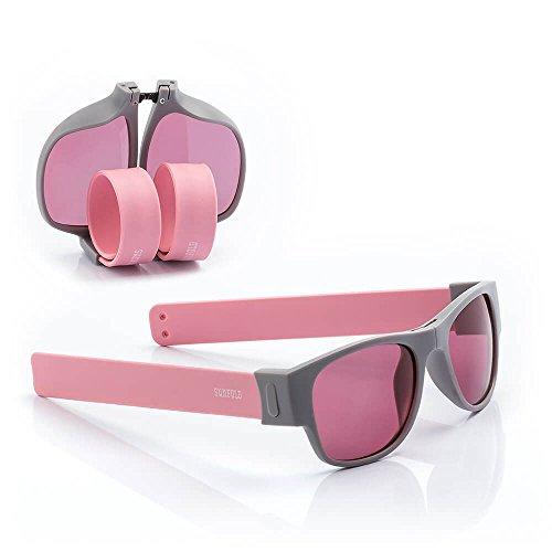 Sunfold Pastel Gafas de Sol Enrollables, Hombre, Gris y Rosa, Talla Única