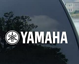 2 Racing Decal Sticker FOR Yamaha (New) White Size 8''x1.75''