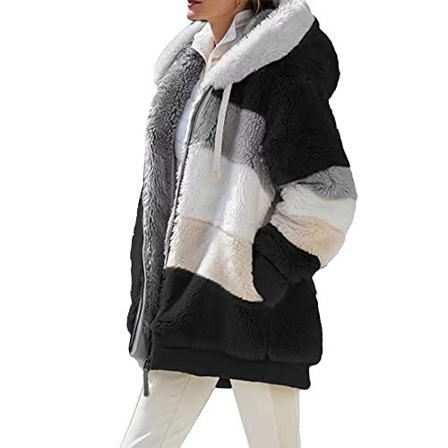 Chaqueta de forro polar para mujer, color block con capucha y capucha de peluche con cremallera mullida chaqueta de invierno de gran tamaño Outwear, Negro, S