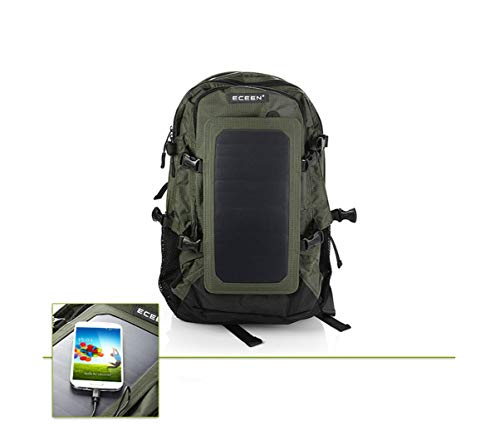 Solar Backpack With Detachable Usb Fast Charge Solar Panel Laptop Backpack Travel Hiking Hiking Waterproof Backpack for Ipad Smartphone, Unisex,Green