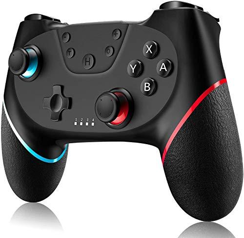 Gamory Controller Ersatz fur Switch Bluetooth Wireless Remote Gamepad mit einstellbarem Turbo und Dual Shock Joysticks Spiele Handkonsolen Black