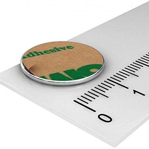 10x Neodym Scheiben Magnet, 17.5 x 1 mm, vernickelt, selbstklebend durch Klebefolie M3, Grade N35