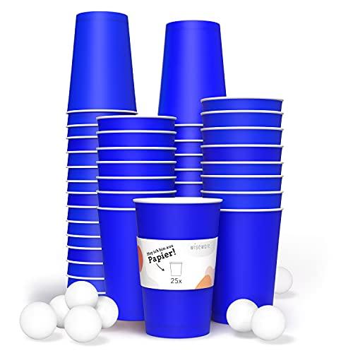 Wiseware Bierpong - Juego de vasos ecológicos de papel - vasos de papel - vasos de cartón azul - vasos desechables - vasos para fiestas sostenibles (25 unidades con 3 bolas)