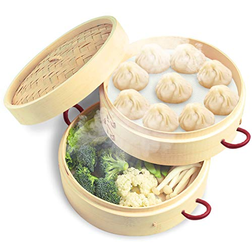 wanju 2 Tiers 10inches Bamboo Steamer with 2 Anti-Hot Handle and Lid for Japanese & Chinese Cuisine Handmade Natural Kitchen Food Pot Basket Cookware Healthy Cooking for Dumplings Vegetable Meat