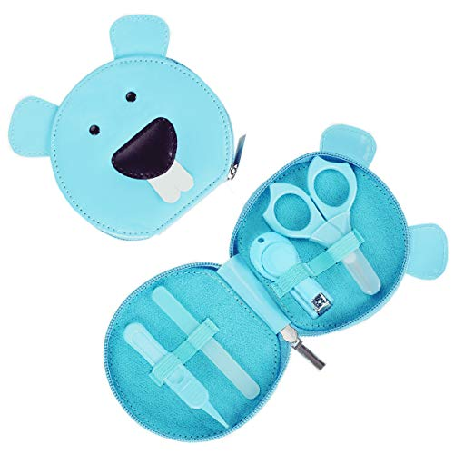 Livememory Baby Nail Set Baby Manicure Set Infant Newborn Nail Kit Baby Nail Clipper with Scissors & File & Nasal Tweezers - 4 Piece - Blue