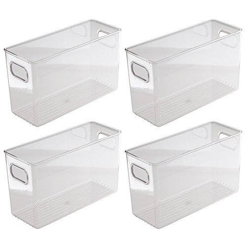 InterDesign Kitchen Pantry and Cabinet Storage and Organization Bin, 10-Inch by 4-Inch by 6-Inch, 4 Pack, Clear