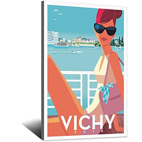 Póster vintage de viaje, póster decorativo de dormitorio de Vichy