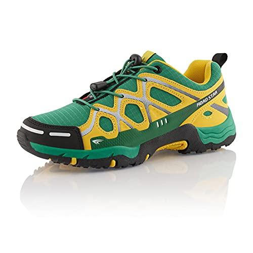 Fusskleidung® Damen Herren Wanderschuhe atmungsaktive Trekkingschuhe leichte Laufschuhe Grün Gelb EU 42